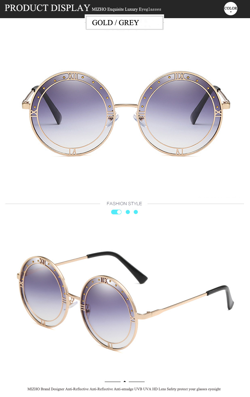 US $3.96 60% OFF|MIZHO Trendy Transparent Green Lens Sunglasses Women Round High Quality UV400 Real color Hip Hop Mens Korea Glasses For Mujer|Men's