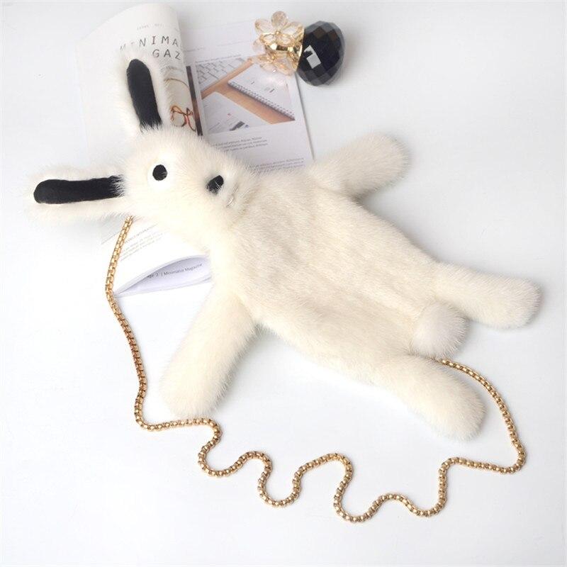 2018 damen schulter tasche nerz kette toten kaninchen kette multi funktionale dame nette lustige kaninchen flauschigen anhänger zubehör - 2
