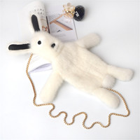2018 ladies shoulder bag mink fur chain dead rabbit multi functional lady fashion cute funny rabbit fluffy pendant accessories