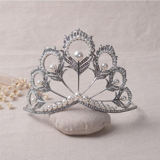 Women Pearls Tiaras High Grade Wedding Crown Jewelry Fashion Flower Pure Crystal Bride Head Hair Accessories Queen Hairwear