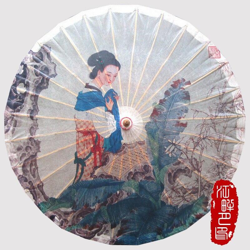Бананового дерева женщина масляной Бумага зонтик думаю женщина под дерево Бумага зонтик молодых леди древний Бумага зонтик работы peope зонт...