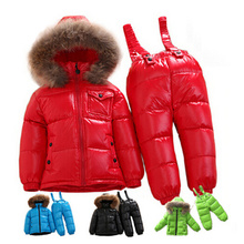 -30 degree Russian cold winter clothes boys baby white duck down jacket for girls coats clothing set children's parka snow wear