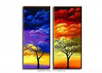 High Quality Abstract Art Set 2 Piece Green Banana Tree Leaves Sky Clouds Oil Painting On Canvas Landscape Wall Decor For Sale