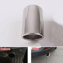 Car Stainless Steel Chrome Round Exhaust End Tail Pipe Muffler Automobile Tip Pipe with Clip For RAV4 2014 2015