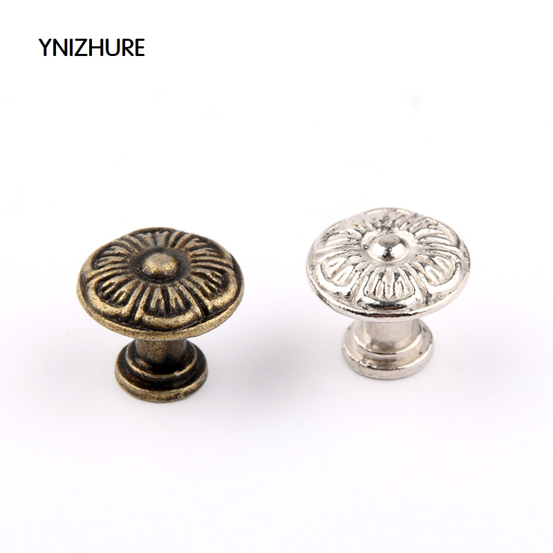 2017 Puxador Cabinet Knobs Ynizhure 30pcs 18*16mm Flower Bronze Silver Dome Antique Handle Drawer Pull Trim Single Hole Alloy 2017 puxador cabinet knobs ynizhure 30pcs 18 16mm flower bronze silver dome antique handle drawer pull trim single hole alloy