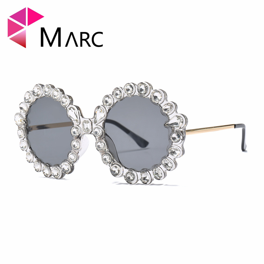 MARC Women Sunglasses High quality Designer luxury Brand crystal Brown Pink Trend Metal currency Round UV400 Gafas de Sol Resin in Women 39 s Sunglasses from Apparel Accessories