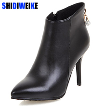Women Boots Ankle Boots for Women 2019 Winter High Heels Short Boots Rhinestone