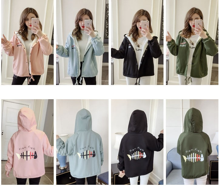 Autumn New Outwear Women Sweet Hooded Long Sleeve Cute Cat Printed Jacket Casual Solid White Pink Jackets 27
