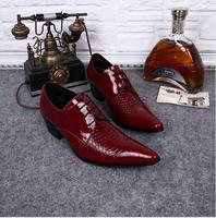 CH KWOK European High Heel Dress Shoes For Men Red Mens Patent Leather Black Shoes Italian
