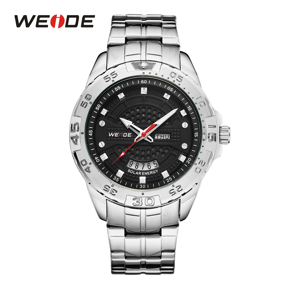 WEIDE Mens Sports Watch Solar Energy Movement Date Calendar Analog Digital Hardlex Silver Stainless Steel Band Black Wrist Watch