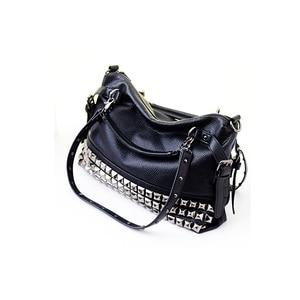 Image 5 - Rivet Womens PU Leather Handbag New 2020 Fashion Silver/Black Cowhide Women Messenger Bags One Shoulder Handbag Big Bags Z474