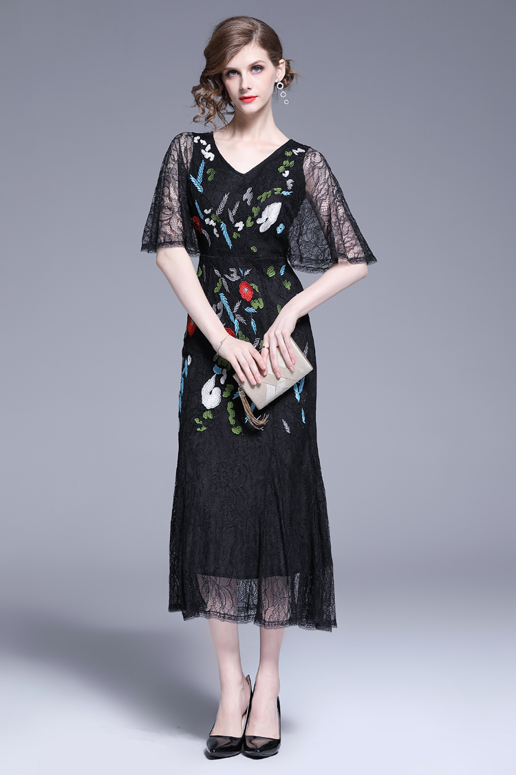 V-Neck Floral Embroidered Lace Dress 2