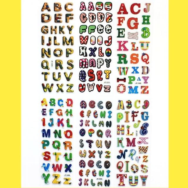 6 Sheets Scrapbooking Bubble Puffy Stickers Kawaii Letters Emoji