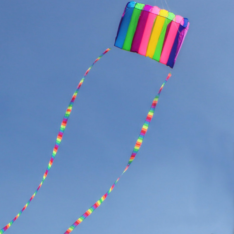 Colorful Eight Hole Parachute Kite With10m Tail Single Line Kite Durable Well Outdoor Toy Kite For Fun Gift For Children Adult