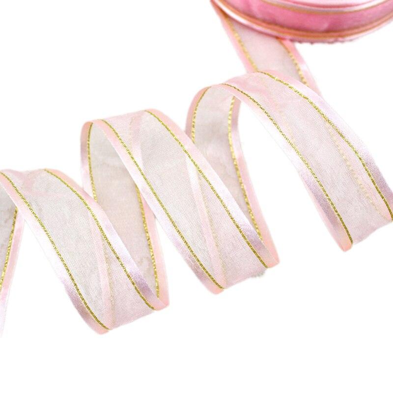 25 мм розовый заглушка золотой край органза ленты оптовая продажа подарочная упаковка украшения ленты