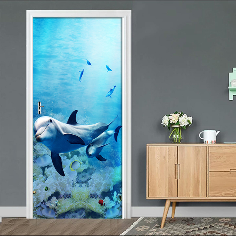 Self Adhesive Decal Home Decor Dolphin Animal DIY Door Sticker Seascape Paper For Living Room PVC Waterproof 3D Print Photo Art