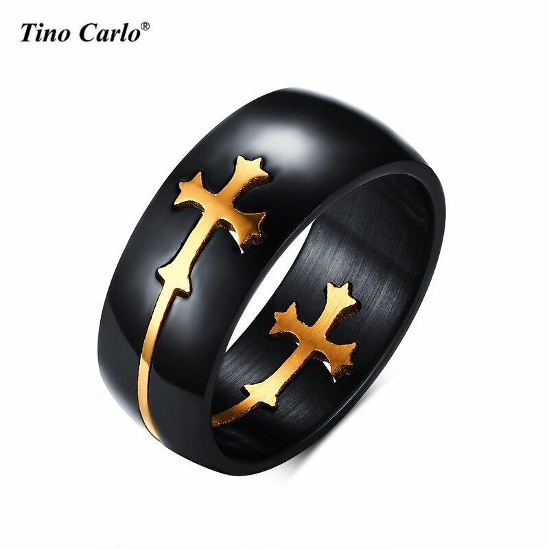 8mm titanium steel black separable gold cross rings for