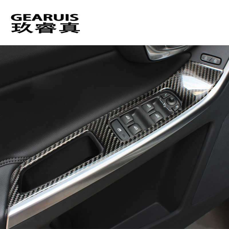 carbon fiber Car styling door armrest panel cover trim window glass lift sticker for Volvo XC60 S60 V60 auto Accessories LHD RHD for nissan r34 gtr carbon fiber radio surround stick on type rhd fibre interior garnish car styling in stock