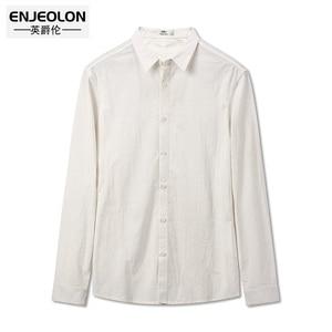 Image 4 - Enjeolon marka sonbahar Camisa Masculina pamuk gömlekler erkekler katı gömlek erkek 3XL bluz uzun kollu gömlek erkekler için CX2517 1