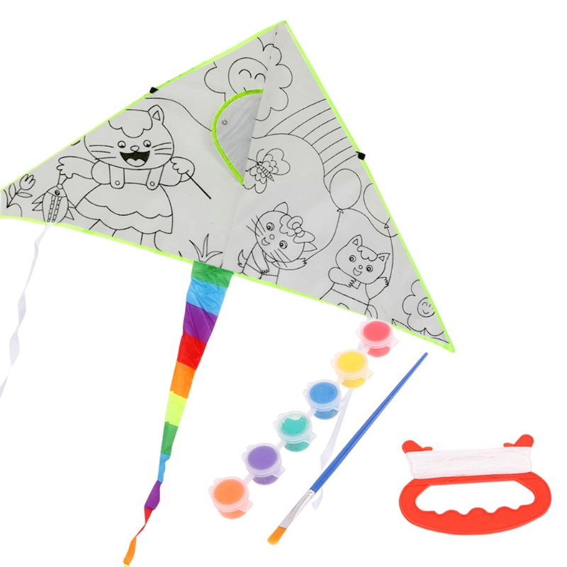 New DIY Painting Kite With Pigment Kite For Kids Children Flying Outdoor Sport Toy Gift For Boys And Girls
