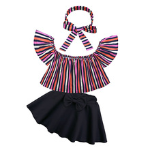 hot deal buy kids baby girl clothes sets casual sweet summer outwear sets sleeveless stripe top + skirt + headband three-piece suit 12m-7t