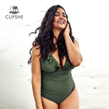 CUPSHE Plus Size Green Ruffled V-Neck One Piece Swimsuit Women Sexy Cross Monokini Bathing Suits 2020 Girl Beach Swimwear