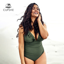 CUPSHE traje de baño de talla grande verde con volantes y cuello en V de una pieza para mujer Sexy Monokini cruzado trajes de baño 2020 para chica traje de baño de playa