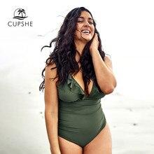 Cupshe Plus Size Green Verstoorde V hals Een Stuk Badpak Vrouwen Sexy Cross Monokini Badpakken 2020 Meisje Strand Badmode
