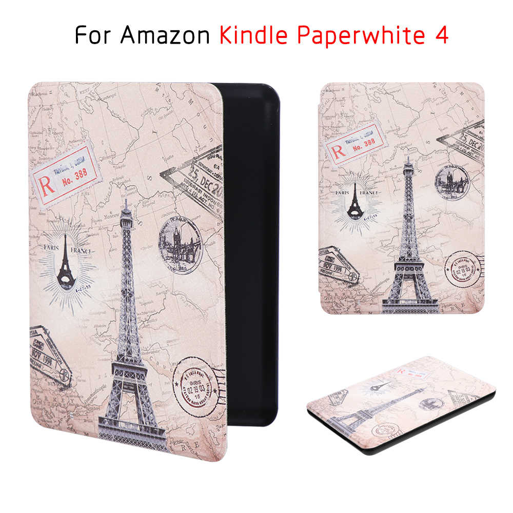 Para Amazon 2018 Kindle Paperwhite 4 10th Generation Funda con Cubierta Protectora Ultra Slim Smart Folio Magnetic PU Funda de Cuero