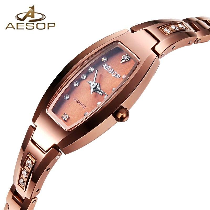 Эзоп Вольфрам Сталь часы Для женщин розового золота браслет кварцевые наручные часы Элегантные женские часы Montre Femme Relogio Feminino