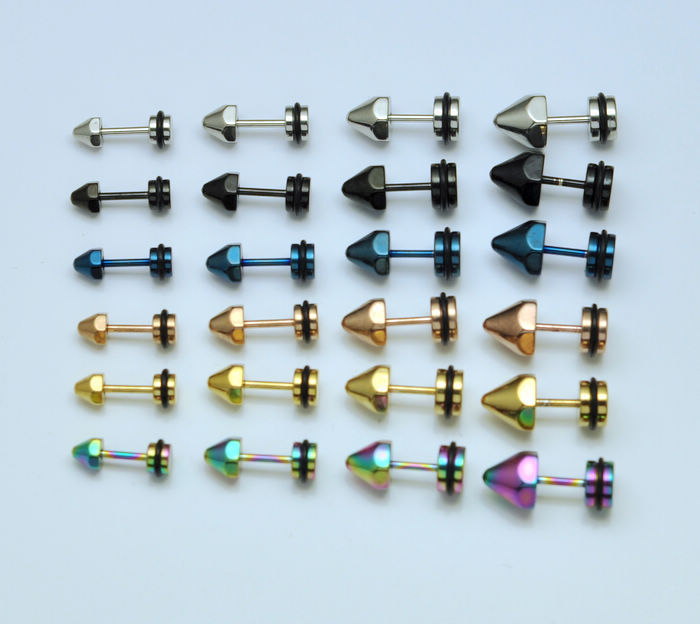 wholesale mixed 6colors 5 sizes titanium cone steel earrings men boy punk spike fake earrings body