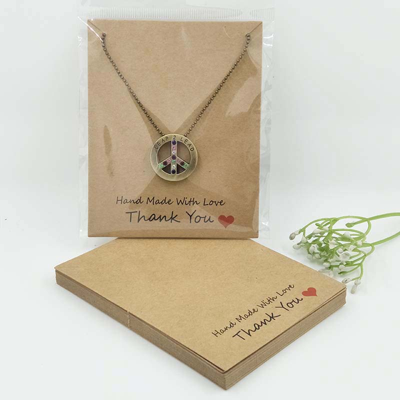 10*8cm Handmade With Love Packing Card Necklace Display Card Print Thank You Paper Card 100pcs +100 Plastic Bag