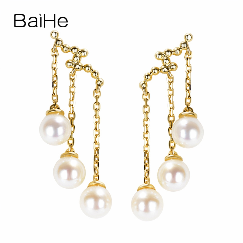 BAIHE Solid 18K Yellow Gold 4MM H/SI Round 100% Genuine Freshwater pearl Engagement Classic Fine Jewelry Elegant Stud Earrings baihe solid 18k yellow gold au750 engagement