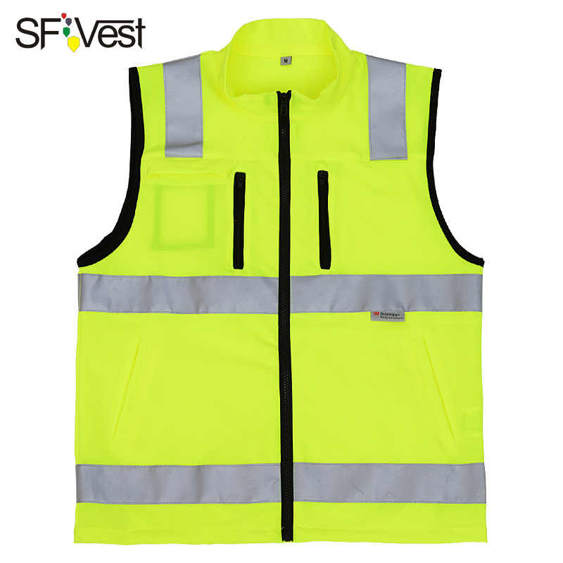 SFVEST HIGH VISIBILITY REFLECTIVE WAISTCOAT ELASTIC OXFORD 3M SCOTCHLITE TAPES WORKING VEST WITH ID POCKETS MENS FREE DELIVERY