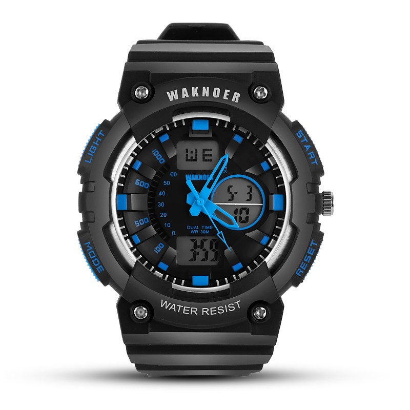 WAKNOER Wristwatches Men's Watch Sports Watches Double Time Watches for Men 30m Waterproof Digital Watch LED Clock Men saat multifunctional men sports watch 30m waterproof luminous digital sports wristwatches alarm clock