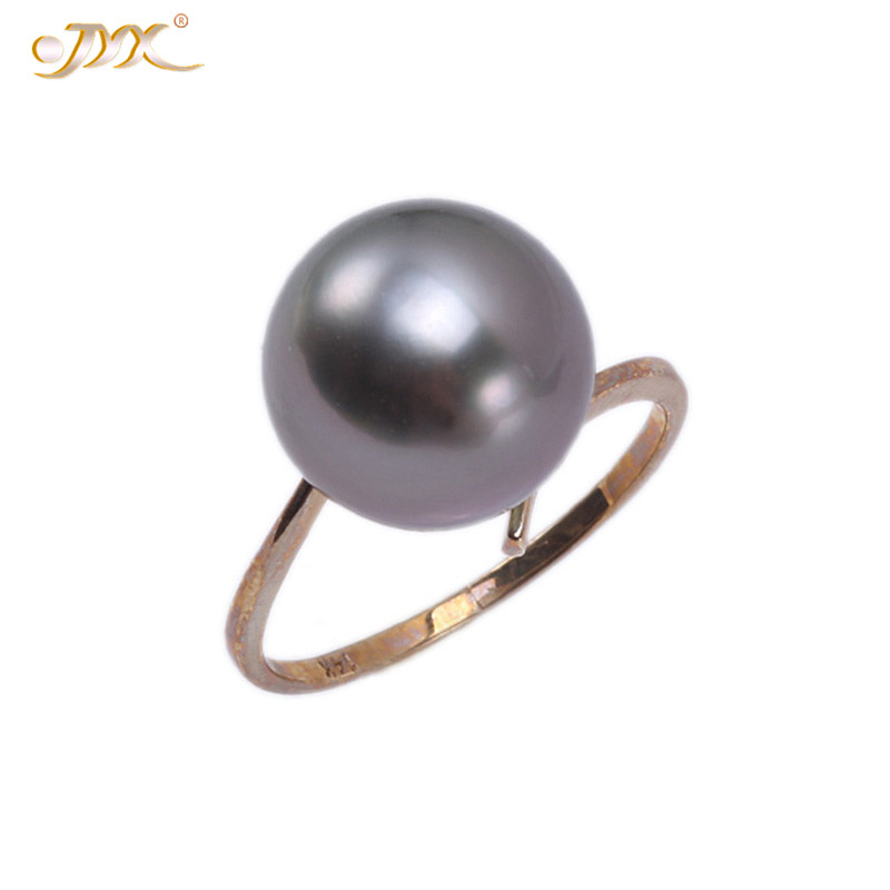 JYX 2019 Exquisite natural Pearl Ring 14K Yellow Gold 11.7mm Black Round Seawater Cultured Tahitian Pearl Rings women giftJYX 2019 Exquisite natural Pearl Ring 14K Yellow Gold 11.7mm Black Round Seawater Cultured Tahitian Pearl Rings women gift