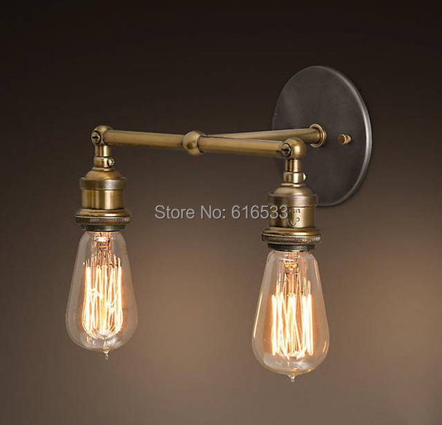 Nordic Loft Vintage Lustre Edison Double Wall Sconce Lamps - Double wall sconce bathroom