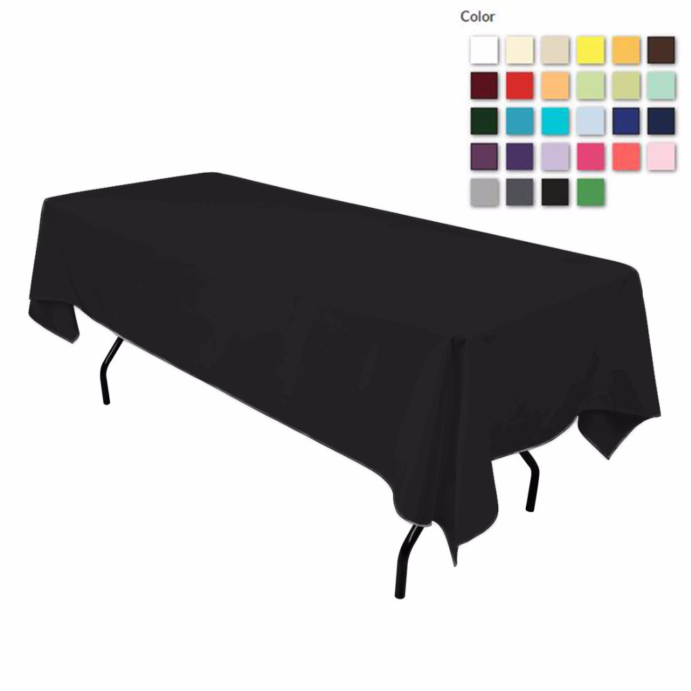 HK DHL Stain Feel 152*260cm Polyester Rectangle Tablecloth Black for Wedding, 5/Pack ...