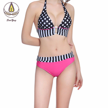Hot Sexy Bikinis Women Swimsuits Women Medium Waist Wave Point Split Bikini Summer Beach Swimwear Suit все цены