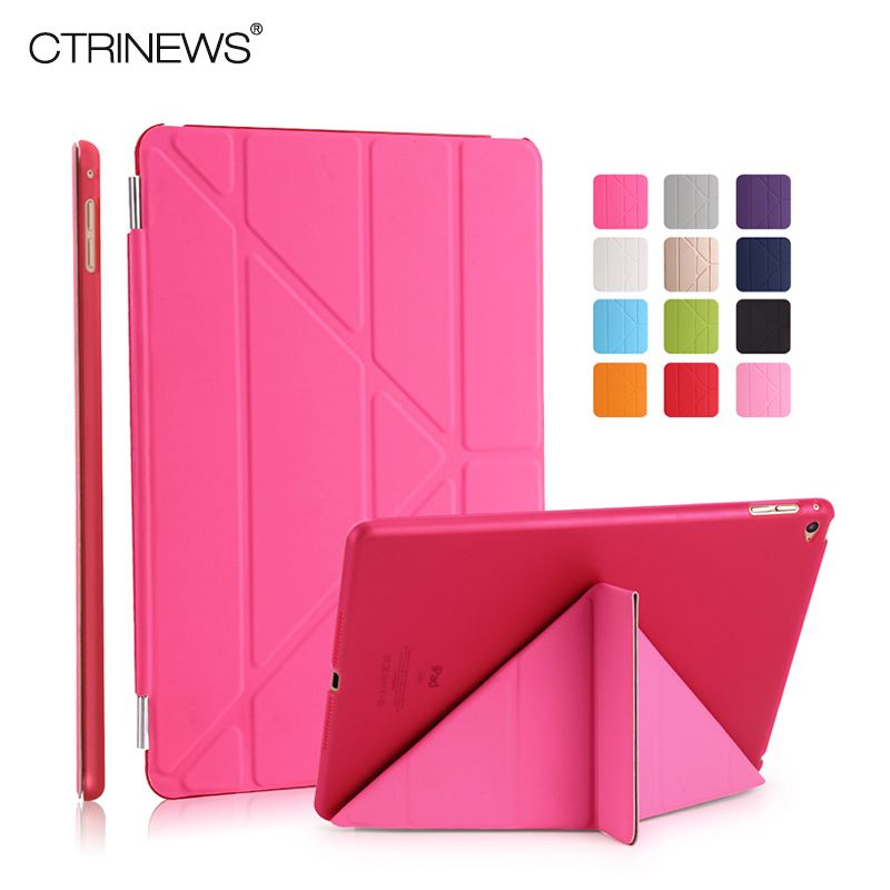 CTRINEWS Smart Leather Cover for Apple iPad Air 2 Case Multi fold Stand Case for iPad 6 Air 2 Tablet Magnetic Auto Wake Sleep