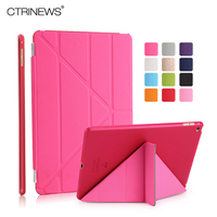 CTRINEWS PU Leather Smart Cover For IPad Air 2 Multi Fold Stand Cover Case For Apple