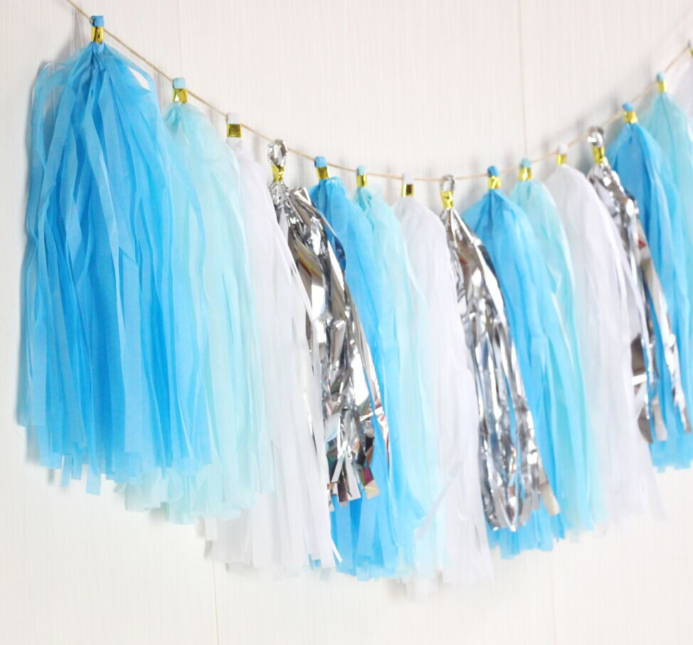 Us 5 99 Light Blue Aqua White Silver Tassel Garland Snow Queen Party Decor Ice Queen Birthday Party Ice Princess Party Princess Banner In Party