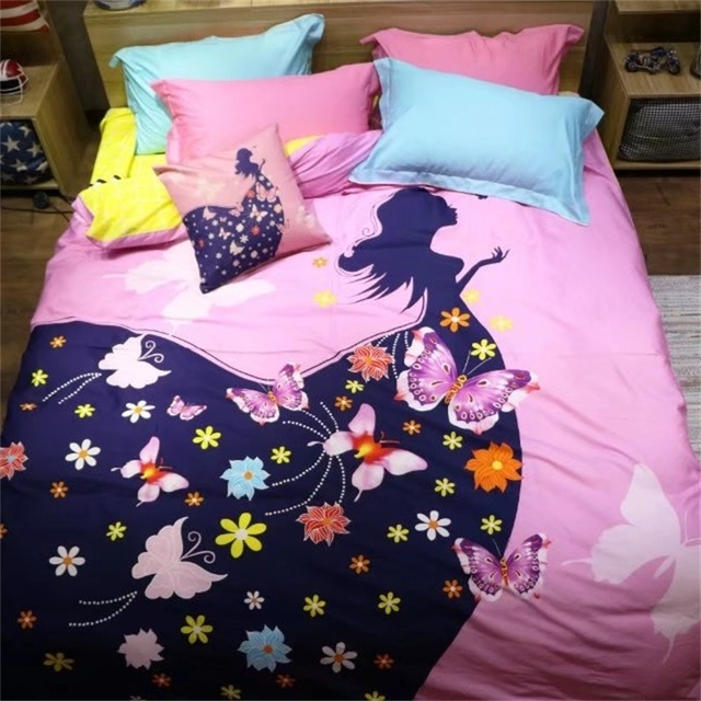 Colorful Butterfly Flowers And Girl Bedding Set 4pcs Queen Size Quilt Cover Bed  Sheets Cotton Printed