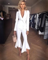 2019 New Fashion White Business Suit Long Sleeves Deep V neck Lotus Leaf Design Bell Bottoms Wholesale Two Pieces Women Suit