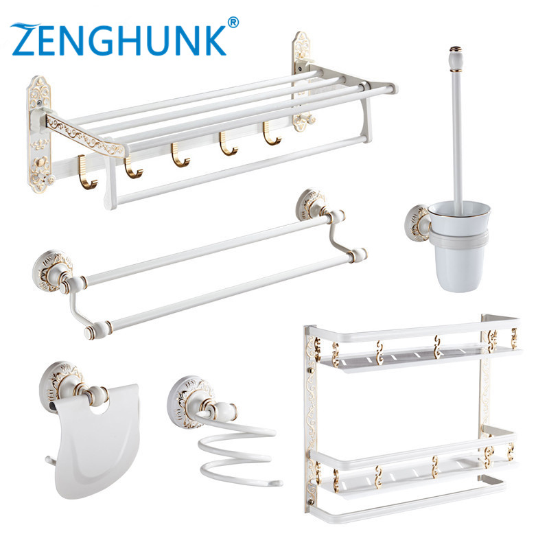 Bathroom Hardware Set Aluminum Towel Rack Paper Holder Towel Bar Corner Shelf Toilet Brush holder Hook Bathroom Accessories Set