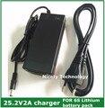 25.2v2a li-ion carregador de bateria de lítio para 6 Série 21.6 V 22.2 V 24 V li-ion de lítio Li-polímero bateria pacote de boa qualidade