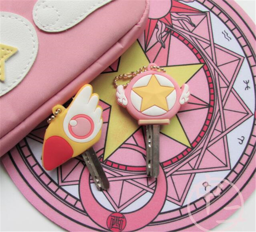 Anime Sailor Moon Keychain Cosplay Card Captor Sakura Keyring Girls Halloween Props Keychains A677(China)