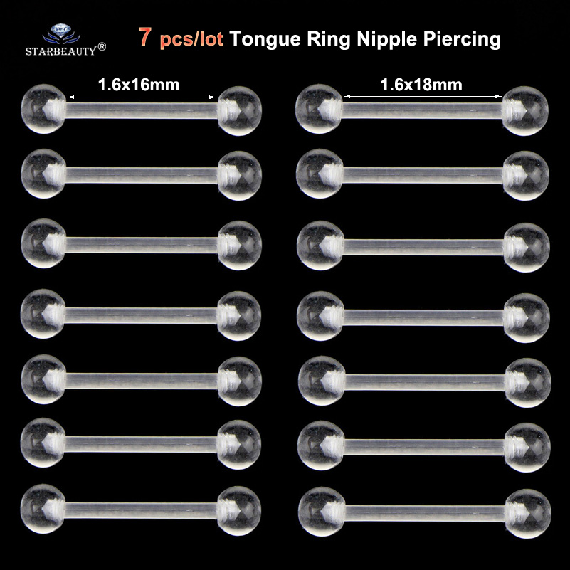Disciplined 7pcs Soft Clear Barbell Tongue Piercing Tongue Ring Transparent Acrylic Nipple Ring Helix Piercing Nose Ring Sex Women Pircing Bright Luster
