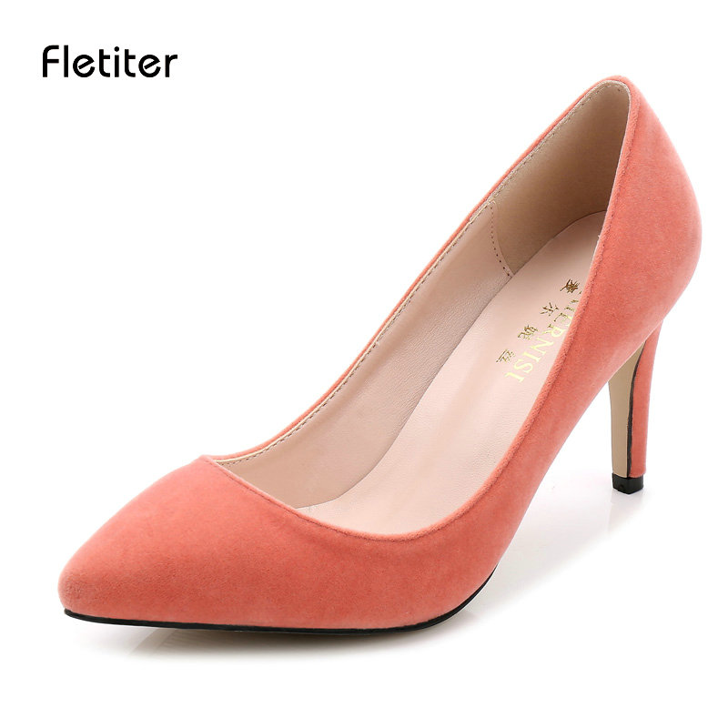 Fletiter Shoes Women 8 cm High Heels Pumps Flock Pointed Toe Women Pumps Ladies Shoes Thin High Heel Shoes Large Size 43 44 newest solid flock high heel pumps woman