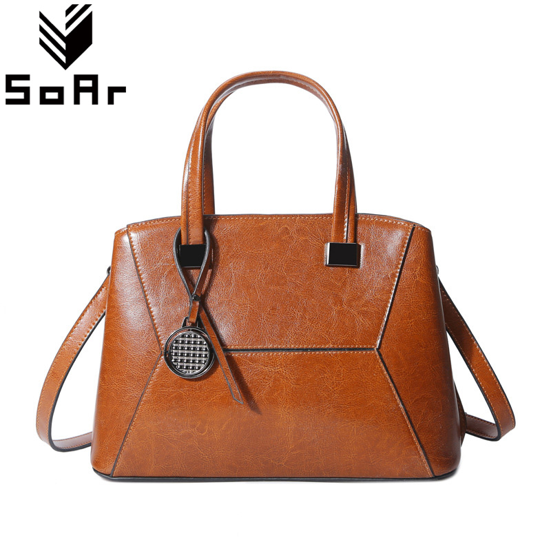 SoAr Ladies Genuine Leather Handbags Women Menssenger Bags Casual Tote Original Design Messenger Bags Cowhide Shoulder Bags New 2018 new fashion top handle bags women cowhide genuine leather handbags casual bucket bags women bags rivet shoulder bags 836